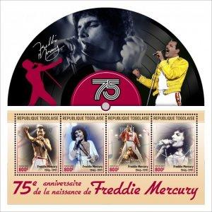 TOGO - 2021 - Freddie Mercury - Perf 4v Sheet - Mint Never Hinged