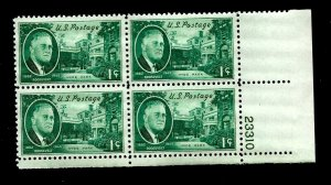 US 1945 Sc# 930 1 c  FDR and the White House - Mint NH Plate Block of 4
