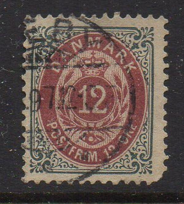 Denmark Sc 29 1875 12 ore slate & dull lake stamp used