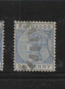 BARBADOS #62  1882  2 1/2p   QUEEN VICTORIA    F-VF  USED   e