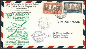 Doyle's_Stamps: Quality First Flight Cover New Caledonia to Canton Island