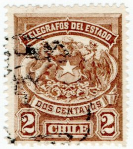 (I.B) Chile Telegraphs : 2c Brown (small format)