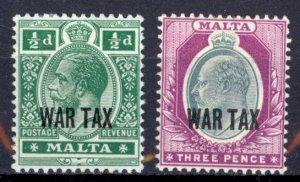 Malta Sc# MR1-MR2 MH 1918 War Tax