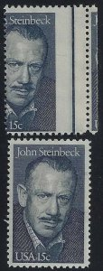 1773 - Scarce Cross Gutter Misperf Error / EFO John Steinbeck Novelist Mint NH