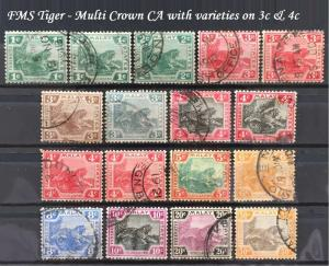 Malaya Federated Malay States FMS 1904-22 Tiger 1c-50c 17V MCCA Used M2032