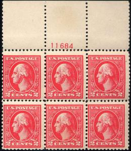 1920 Us Stamp #528A A140 2c Plate Block of 6 Type VI Catalogue Value $800