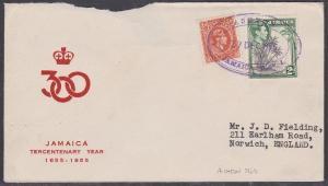 JAMAICA 1955 cover to UK ASHTON temp rubber datestamp........................708