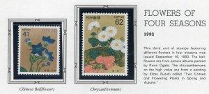 Japan 1993 Postal Issues NH Scott 2180-81 Flowers of Four Seasons Lot of 2