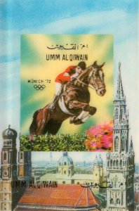 Umm Al Qiwain 1972 MUNICH OLYMPICS HORSE s/s 3Dimensional RARE Mint (NH)