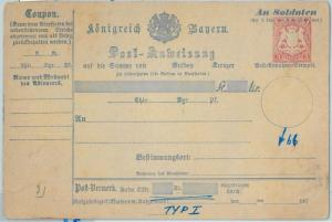 66769 - GERMANY BAYERN - Postal History - STATIONERY  CARD: Military Money Order