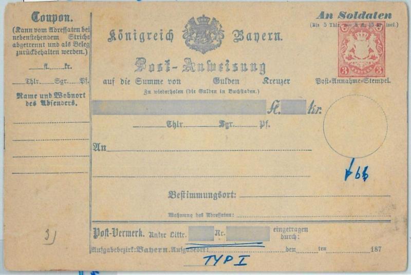66769 - GERMANY BAYERN - Postal History - STATIONERY  CARD: Military Money Order