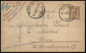 Austria Empire Rohrpost Pneumatic Mail Postal Stationary Card 69891