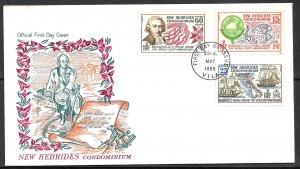 NEW HEBRIDES FRENCH 1968 L.A.de Bougainville Voyage Set Sc 143-145 Cachet FDC