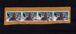 C128 US Airmail Pioneer Pilot 50c Strip Of Four Cancellation Summerland Key Fl