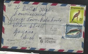 GUYANA  (PP1605B)  1971 BRD 20C+ FISH 1C REG VREEDENMOOP  TO GEORGETOWN