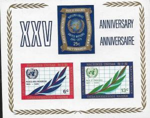 United Nations  1970 New York 25th Anniversary of UN Souvenir Sheet SC# 212 MNH