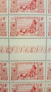 French Polynesia #102* NH Full sheet of 50  CV $45.00+