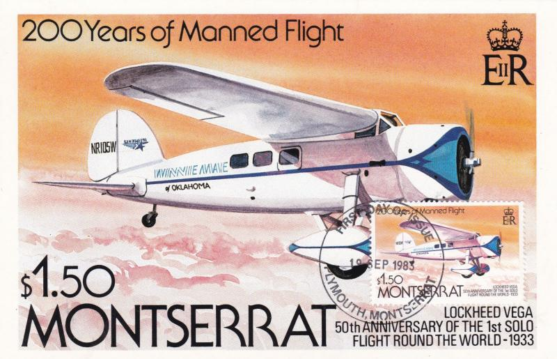 Montserrat 1983 Lockheed Vega First Day Card Unused VGC