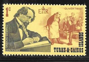 """Turks and Caicos 205: 1c Dickens, Scene from """"Oliver Twist"""", MH, VF"""