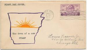 1936 Arkansas 100 years  Sc 782-112  Bertha Clift cachet  CV $85.00  scarce