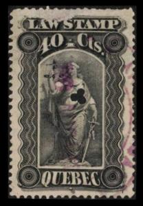 QUEBEC REVENUE 1893 VERY SCARCE VINTAGE 40c #QL35 FINE LAW STAMP SEE SCAN