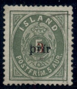 ICELAND #31a (33) 3Prir (lg) used w/light cancel, XF, Pollak cert, Facit $4,200