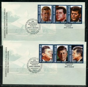MARSHALL ISLANDS 2010 50th ANN OF THE ELECTION JFK SET ON TWO FIRST DAY COVERS