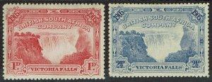 RHODESIA 1905 VICTORIA FALLS 1D AND 21/2D PERF 14