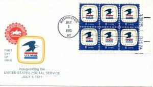 US FDC #1396 USPS Eagle Plate Block, (1174)