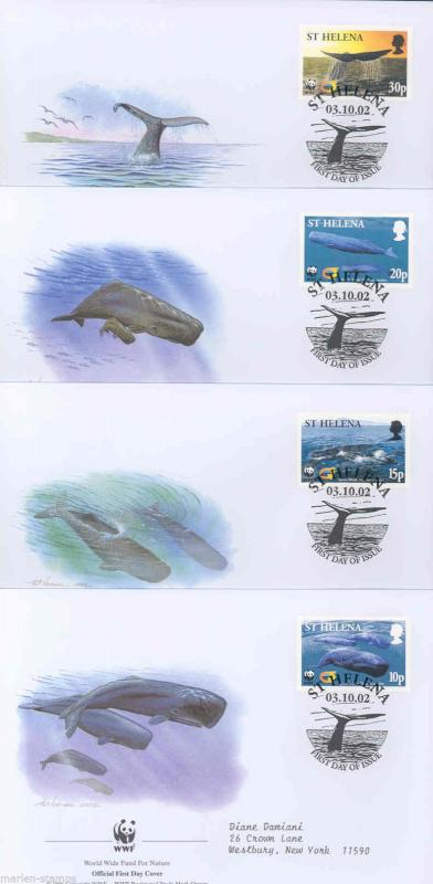 WORLD WILDLIFE FUND 2002 ST. HELENA WHALES  SET OF FOUR FIRST DAY COVERS