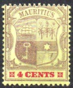 Mauritius 19014c  purple  and carmine/yellow MH