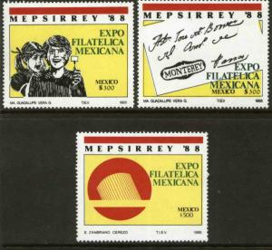 MEXICO 1545-1547 Mepsirrey'88 Exhibition and Convention MNH