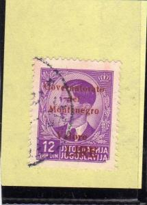MONTENEGRO 1942 SOPRASTAMPA ROSSA RED OVERPRINTE VALORE LIRE 12 D USATO USED ...