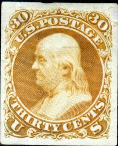 #61 P3 30¢ AUG ISSUE XF PLATE PROOF ON INDIA PPR BM1695