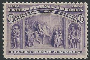 Scott 235, Original gum, 1893 Columbian Exposition Issue