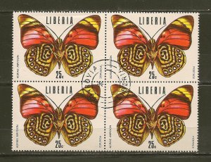 Liberia Butterfly Block of 4 CTO
