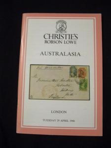 CHRISTIES ROBSON LOWE CATALOGUE 1986 AUSTRALASIA
