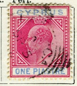 CYPRUS; 1903 early Ed VII issue fine used 1Pi. value