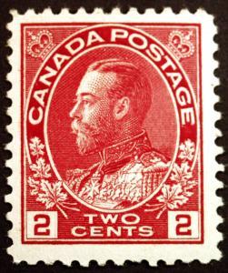 Canada #106 2c Carmine 1911 King George V  Fresh Mint