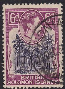 British Solomon Islands 1939 - 51 KGV1  6d Coconut Plantation SG 67 ( R992 )