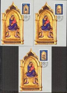 Liechtenstein 1995 Christmas 3 Maxi Cards FDC