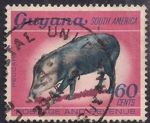 Guyana 1968 QE2 60ct White Lipped Peccary Used SG 459 ( E1478 )