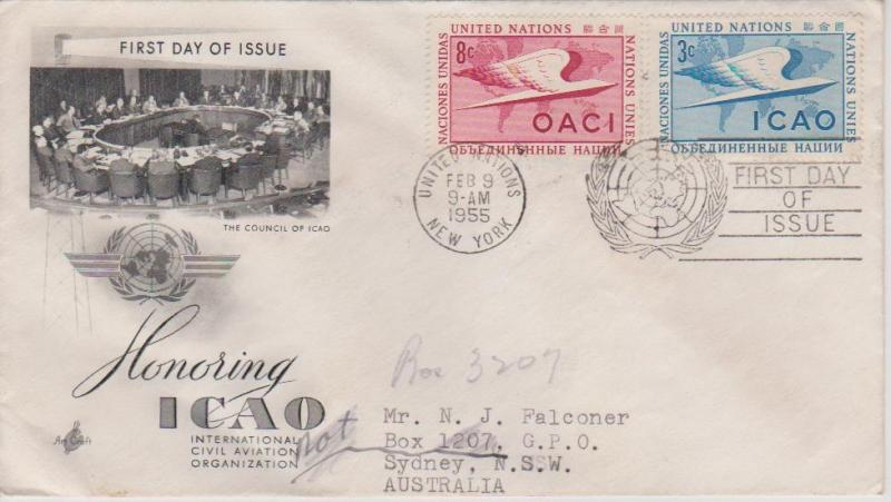 United Nations 1955 ICAO First Day Cover