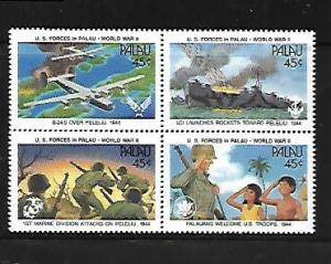 PALAU, 257A, MNH, SS, BLOCK OF 4, WORLD WAR II