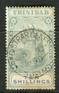 TRINIDAD; 1890s classic Britania issue used 10s. value (toned paper )