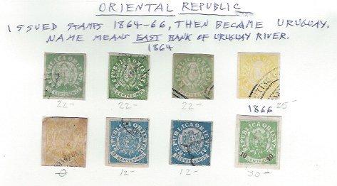 URUGUAY 1864-66 ORIENTAL REPUBLIC SCV $145.00 AT 15% OF CAT VALUE