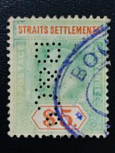 Malaya Straits Settlements 1905 KE VII $5 MCCA PERFIN SG#136 CV£200 M2059