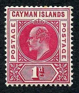 Cayman Is SG9 KEVII 1d wmk Mult Crown CA M/M (tone spot) Cat 25 Pounds