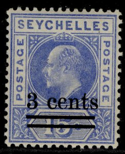 SEYCHELLES EDVII SG57, 3c on 15c ultramarine, M MINT.