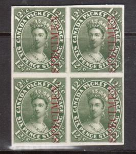 Canada #18Pi Very Fine Proof Block India Paper On Card